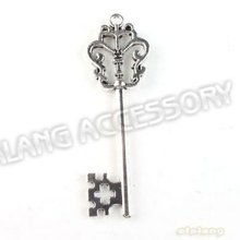 On Sale 30pcs/lot New Key Charms Alloy Antique Silver Plated Pendant Finding Fit Jewerly DIY 52*18*3mm 142603