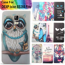 Fashion 11 Colors Cartoon Painting PU Leather Magnetic clasp Wallet Cover For DEXP Ixion ES255 Fire Case