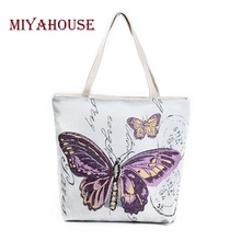 Miyahouse Retro Women Casual Bag Canvas Butterfly Printed Shopping Bags Female Single Shoulder Handbags Pouch Ladies Tote
