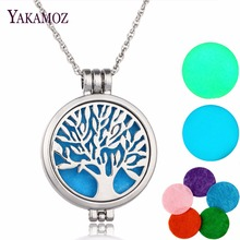 2017 Aromatherapy Necklace Silver Color with Tree of Life Pattern Locket Pendant Oils Essential Diffuser Necklace & 7 Felt Pads