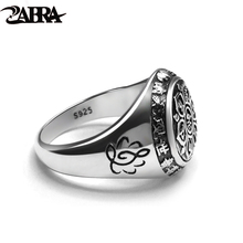 ZABRA Vintage Genuine 925 Sterling Silver Rings For Women Female Six Words Budda Mantra Biker Mens Signet Rings Male Jewelry(China)