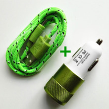 Nylon Braided Micro USB Cable +12V 2.1A Dual USB Car charger Adapter for Samsung redmi Huawei For Mobile Phones