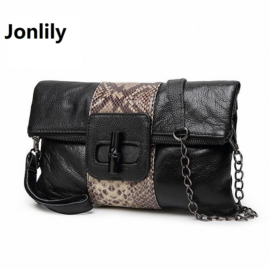 Jonlily Genuine Leather Messenger Bag Snake pattern Women Shoulder Bag Envelope Women Clutch Bag Small Crossbody bag-SLI-208<br>