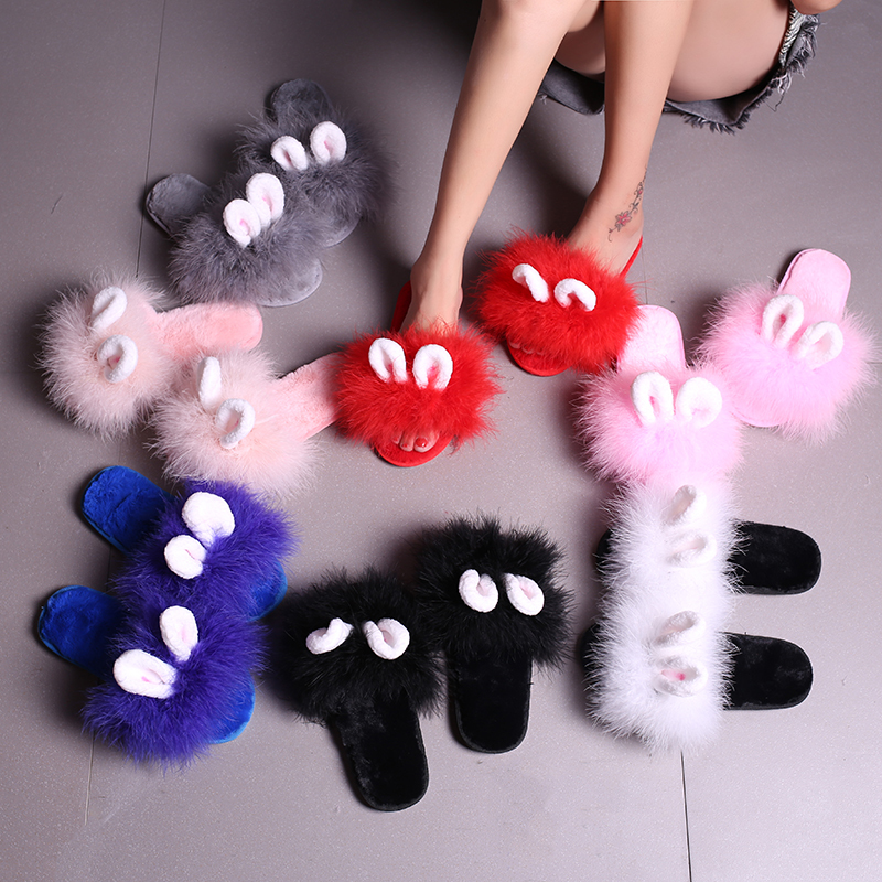Rabbit Ear Ostrich Feather Slippers Women Winter Warm Plush Lovely Shoes Home Fur Flip Flops Pantufas Zapatos Mujer Hot Sale