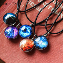 LIEBE ENGEL Double-side Galaxy Star Cabochon Glass Pendant Necklaces Jewelry Women Black Waxed Thread Statement Necklaces 2017