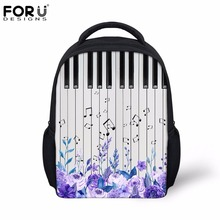 FORUDESIGNS Small Children Backpack Piano Keyboard Music Note Print Casual Kids Canvas Bags School Backpacks Girls Boys