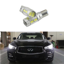 2pcs led W5W T10 canbus Car Auto Lamp Light bulbs with Projector Lens for infiniti qx q50 g37 qx56 fx37 fx35 g ex g25 g35 fx