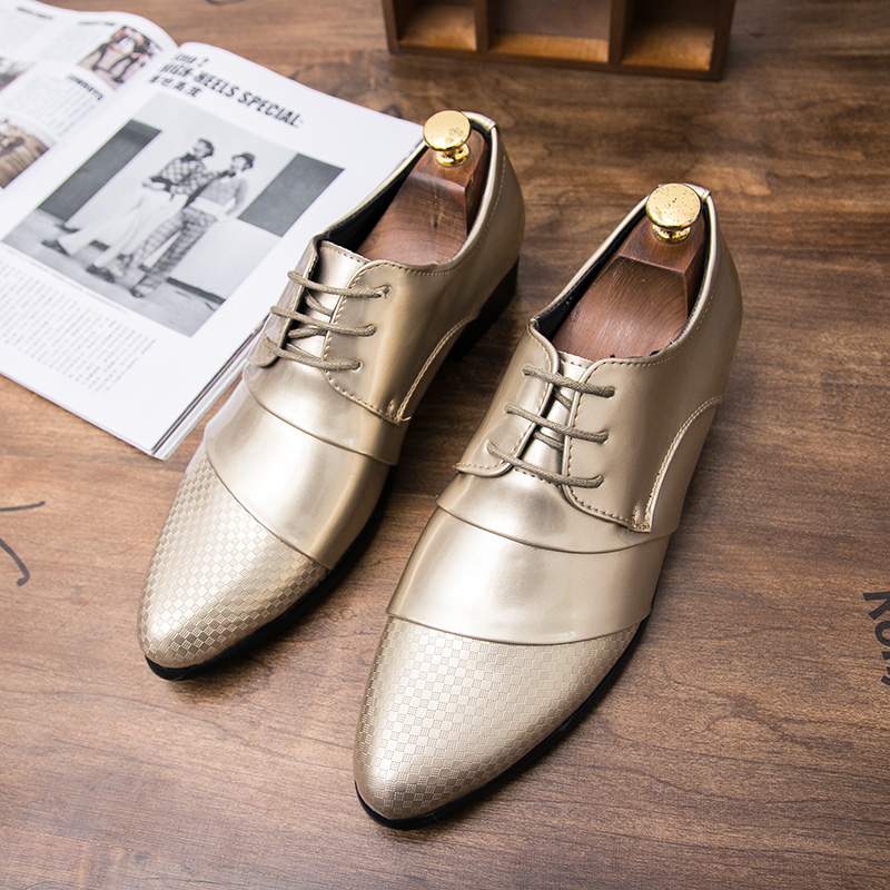 comfortable mens dress shoes luxury brand italian gold male footwear formal patent leather woven skin derby oxford shoes for men (39)