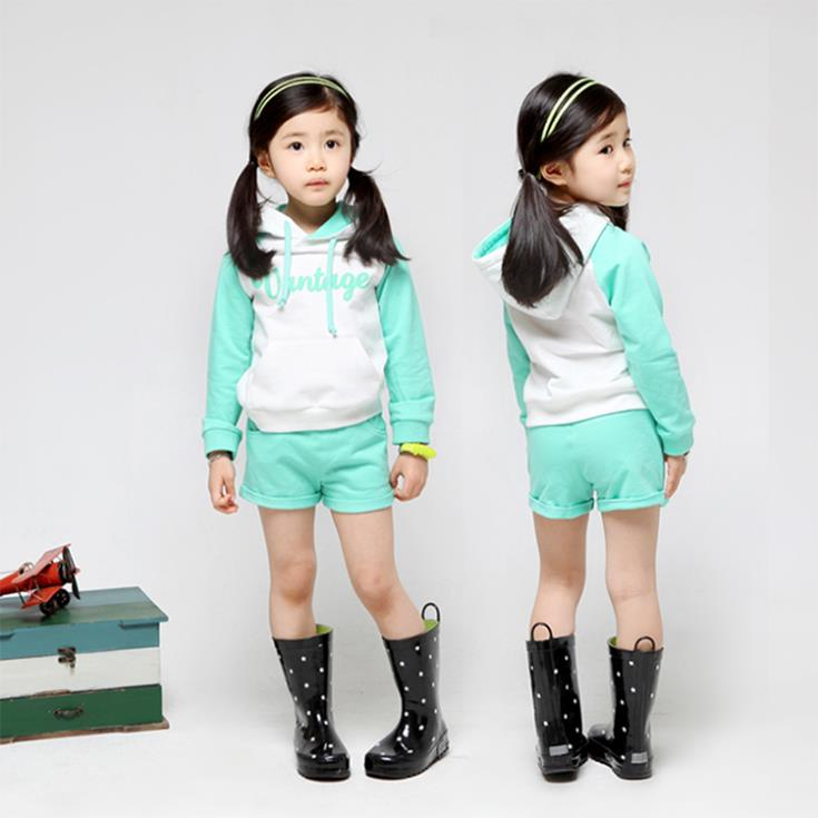 2015 spring new arrival girls green hoodies short sport sets childrens cotton clothes kids Korea style tops and pants sets<br><br>Aliexpress