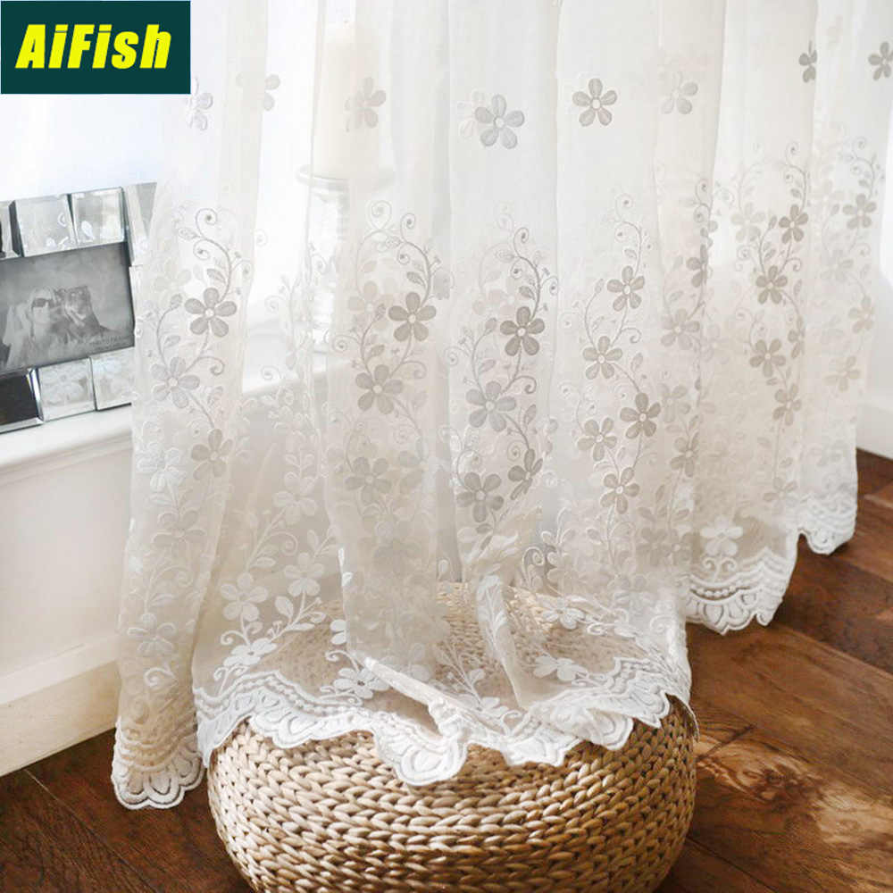 Embroidered Floral Sheer Net Curtains Living Room Tulle Elegant Voile Drapery Window Treatment Tulle for Bedroom/Balcony TM0353