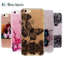 Bling Silicone Phone Case for Coque iPhone 7 Case Cartoon Butterfly Glittering shiny Cover for iPhone 6 6s 7 plus Cases i7 Women(China)