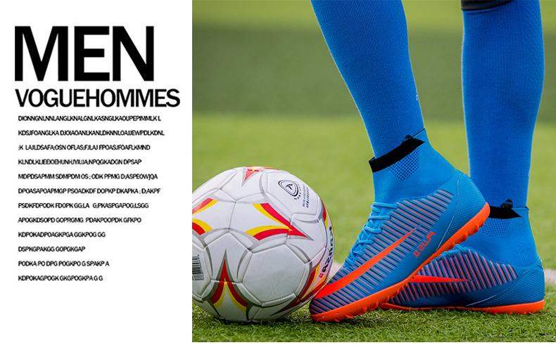 LEOCI Men\'s Blue Orange High Ankle Turf Sole Indoor Cleats Football Boots Shoes Kids Soccer Cleats EU size 31-46 voetbalschoenen