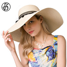 FS Large Wide Birm Floppy Beach Hats For Women Straw Summer Lace With Tassel Fashion Sun Protect Visor Hat Chapeau Femme(China)