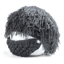 Fancy Knitting winter hat cool savage beard Hallowmas style crochet masked hat for boys and girls(China)