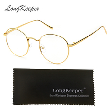 LongKeeper Round Eyeglasses Black Silver Gold Glasses Frame Women Men Clear Lens Metal Eyeware Optical Myopic Eyewares 002