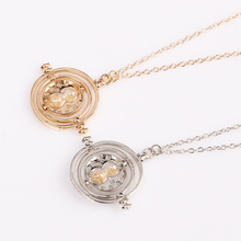 Silver Gold Hermione Granger Time Tuner Necklace Rotating Timeturner Hourglass Necklaces & Pendants Time Travel Pendant Necklace(China)