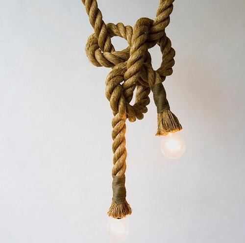 Single/Double Heads Vintage Rope Pendant Light Loft Creative Industrial Lamp Edison Bulb Suspension Luminaire For Living Room<br><br>Aliexpress