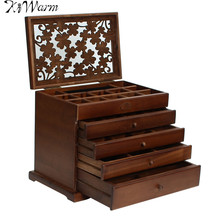KiWarm 5 Layers Vintage Retro Large Brown Wooden Jewellery Box Gift Storage Watch Case Decorative Boxes Home Decoration Crafts