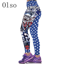 2017 New Gymnasium Clothes For Women Sporting Leggings High Waist 3D Printed American Footballs Team Blue Legins Slim Runs Pants