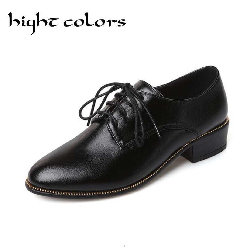 HIGHT COLORS British Retro Womens Brogue Lace Up Wing Tip Oxford Chunky High Heels Shoes For Women Plus Size US 4-10.5<br>