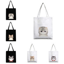 Printed Cute Cat Supermarket Trolley Bag Fashion Canvas Shopping Bag Environmental Protection Storage Bag Large Capacity Handbag