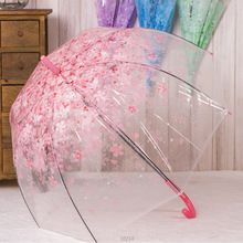 Fashion Sakura Environmental PVC Transparent Clear Long Handle Women Rain Umbrella Mushroom Apollo Princess Umbrellas 4 Colors(China)