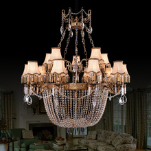 Villa Large Retro Bronze Chandelier Crystal Chandeliers lustre hotel Pure Copper lamp lampshade cristal Lustres E Pendentes Sala(China)
