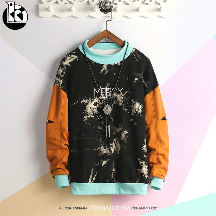2019 Spring New Hole Color Matching Long Sleeve Sweatshirt Men Round Neck Loose Casual Fashion Trend Letter Printing Mens Hoodie