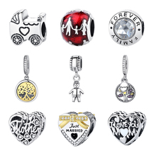 Authentic 925 Sterling Silver Charms Fit Pandora Original Charm Bracelet Diy Beads Family Tree Mom Sister Women Jewelry Pendant