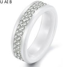 Korean jewelry white ceramic ring two rows rhinestones gift items crystal gifts never faded engagement ring for women(China)