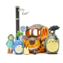 8Pcs/set Hot sale Cute Totoro figures toys PVC Japanese Anime Satsuki Mei Jicha car Chinchilla cat bus(China)