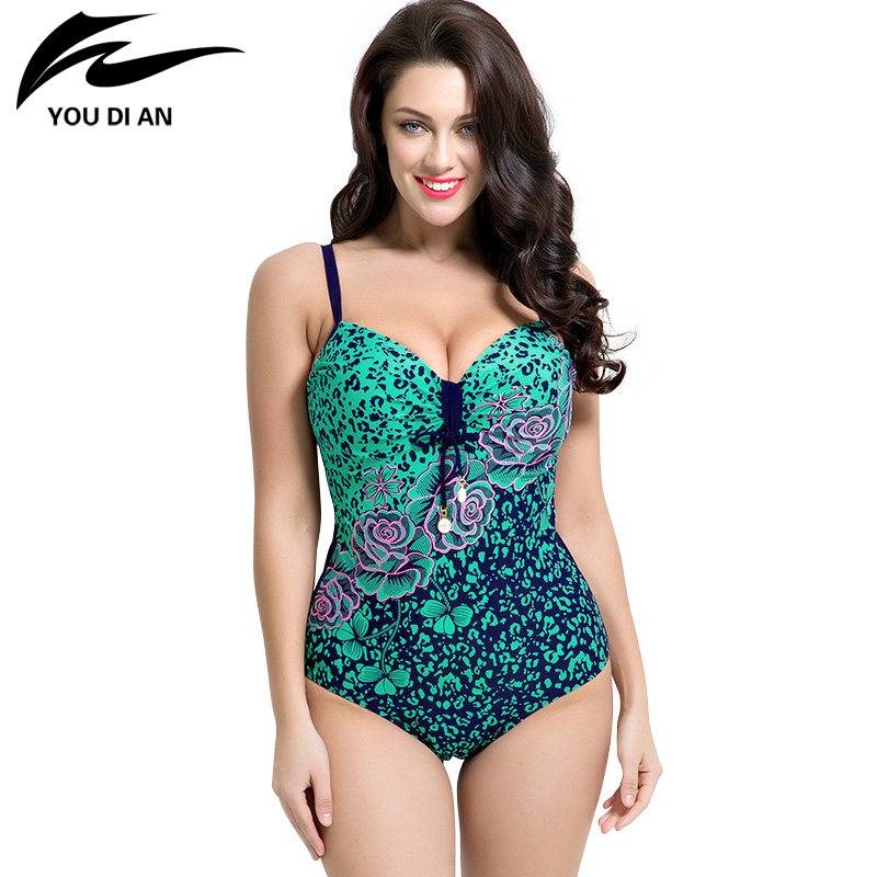 2017 summer style Womens Plus Size One Piece Swimsuit Swimwear Padded Monokini women Bathing Suits Large Bust Swimsuits<br><br>Aliexpress