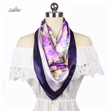 Cheap Luxury Women's Scarf Fashion Lady Imitated Silk Scarves Print Soft Shawls Female Bandana 90 * 90cm Hijab