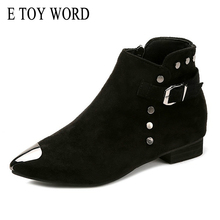 E TOY WORD Suede Leather Ankle boots Women Winter Fashion Solid Black boots for Women Metal Rivet Pointed Toe flat Female Shoes