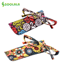 SOOLALA Printed Reading Glasses Spring Hinge Rectangular Presbyopic Reading Glasses W/ Matching Pouch +1.0 1.5 1.75 2.25 to 4.0(China)