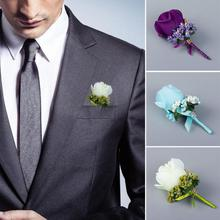 Nw Rose Boutonniere Corsage Quinceanera Bridal Groom Brooch Pin Wedding Party Decor Simulated Silk Flower artistic photo props
