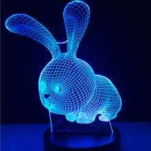Kawaii 3D LED Night Light Lovely Cartoon Rabbit 7 Color Change Table Animal Lamp Home Child Bedroom Decor Kids Birthday Gift RGB(China)