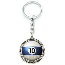 Trendy round Number 10 Pool Billiard Ball keychain white,blue Table Tennis pendant ring jewelry Best man Fathers Day gift T470(China)