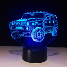 Novelty Colorful Visual USB 3D Car Shape Lamp Bedroom Office Decor Desk Table Lamp Lampara Sleeping Night Lights Christmas Gifts(China)