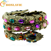 BONLAVIE 4 Colors Fashion Cuff Bangle Women Armband Retro Snake Bracelet Punk Arm Bracelets &Bangles 2017 Jewelry(China)