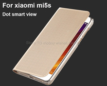 "For Xiaomi mi5s mi 5s 5.15"" PU Leather+PC Flip Dot Case with Matrix Design Smart Protective Quick View Cellphone Cover"