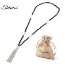 Shinus Tassel Necklace Statement Boho Collier Jewelry Maxi Necklaces Natural Stone Beads Moonstone Black Lava Chakra Gifts 2017(China)