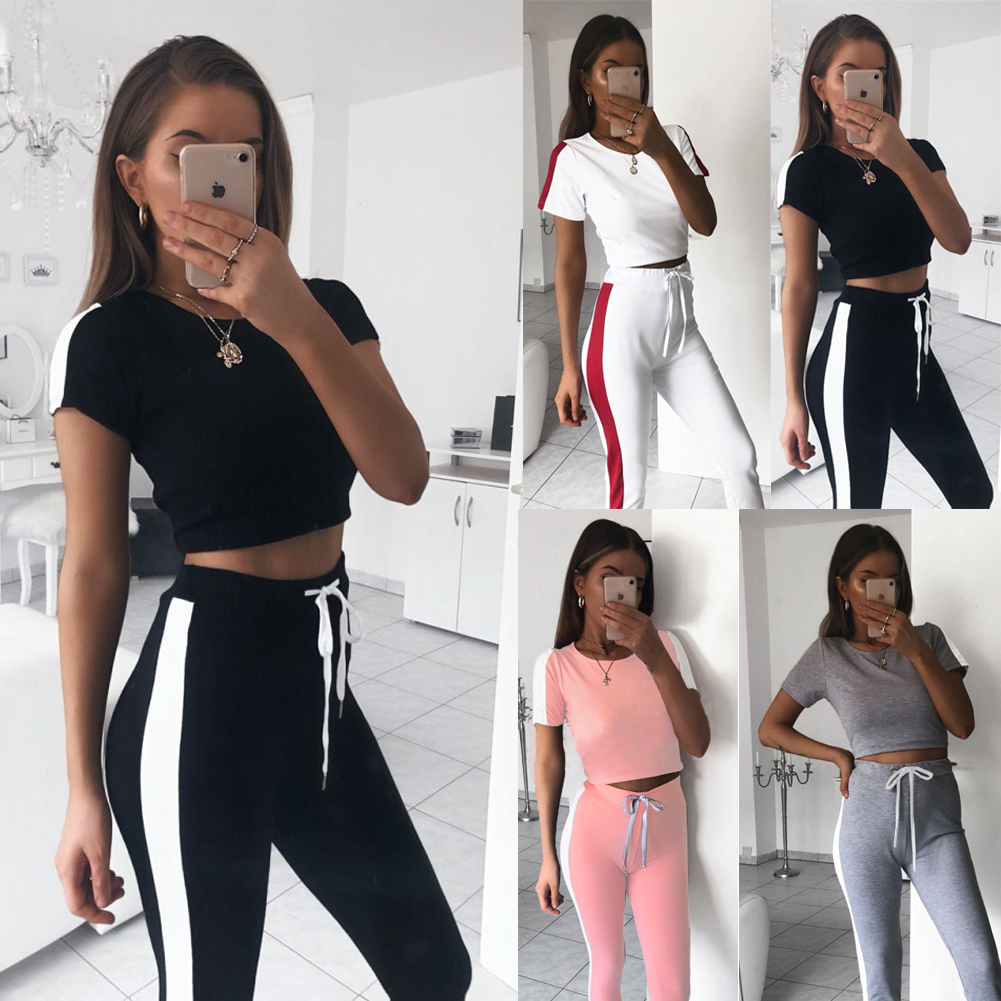 Women 2PCS Gradient Tracksuit Vest Tank Top Set Jogging Pants Lounge Sports Suit