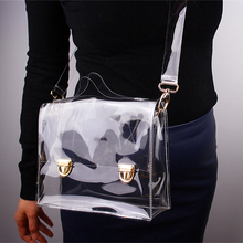 Hot Work PVC Transparent Bags Women Shoulder Box Bag Waterproof Crossbody Women Messenger Bags Clear Phone Clutch Bags