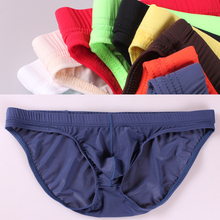 Buy 2017 summer men's ice silk seamless briefs low waist U convex ultra-thin sexy transparent Panties gay underwear underpants