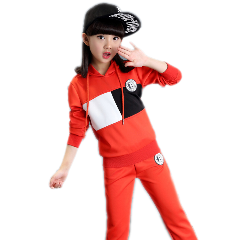 children clothing spring long sleeve girls clothing sets top patchwork fleece+solid pants girls tracksuits 4-11T girl clothing<br>