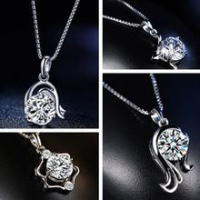1 Piece 925 Sterling Silver Shining Alloy Chain Crystal Clavicle Necklace Constellations Slide Pendant Jewelry(China)