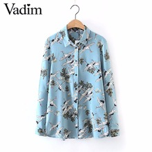 Women swan print shirts blusas side split long sleeve turn down collar streetwear blouse fashion European style tops LT1602(China)
