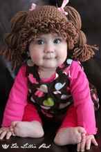 new Girl Wig Hat , handmade Crochet Baby Girls Wigs Cabbage Patch Hat , Newborn Beanie caps Photographic prop - Dark brown