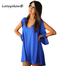 2017 New Summer Chiffon Short Dress Women Loose Sexy V Neck A-line Casual Mini Shirt Dress 7 Colours Beach Dress Plus Size S-2XL